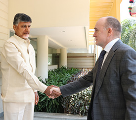 A High-level delegation from Chelyabinsk region, Russian Federation, led by the Hon'ble Governor, meets the Hon'ble Chief Minister of Andhra Pradesh