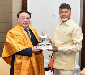 His Excellency Liu Jie, Vice Governor, Sichuan Provincial People's Government, met Hon'ble Chief Minister Chandrababu Naidu.