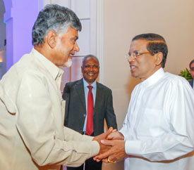 Honourable President of Sri Lanka Maithripala Sirisena, hosts dinner in honour of Chief Minister N Chandrababu Naidu.