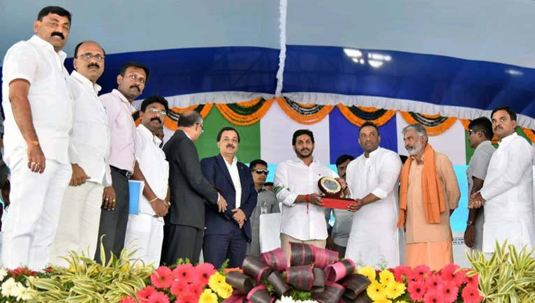 CM lays foundation stone for a steel plant at Jammalamadugu.