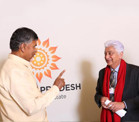 Chief Minister of Andhra Pradesh meets Chairman of Wipro, Azim Premji in Davos, 2016.