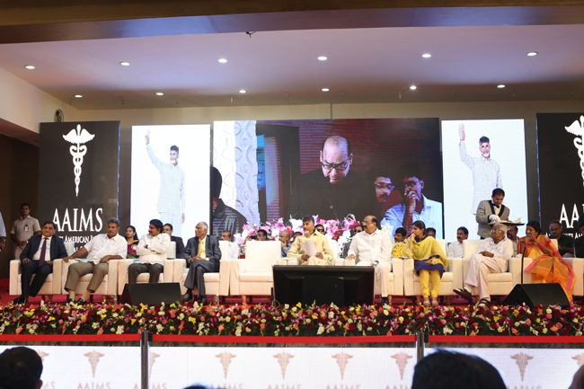 Hon'ble Chief Minister Nara Chandrababu Naidu lays the foundation stone for the Amaravati American Institute of Medical Sciences (AAIMS)